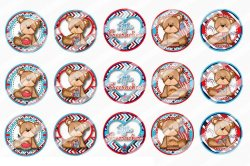 4th Of July Bottle Cap 1 Circle Images Sheet #6x (instant download or pre cut)
