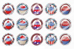4th Of July Bottle Cap 1 Circle Images Sheet #7x (instant download or pre cut)