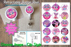 Abby Cadabby Retractable Badge Reel #A4 (choose image and clip)