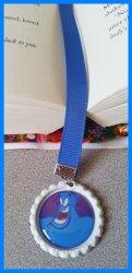 Aladdin Jasmine Bottle Cap Bookmark #A10 (choose image, cap and ribbon color)