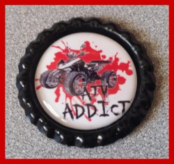 4 Wheeler Quad Bottle Cap Magnet #A1 (choose image and color)