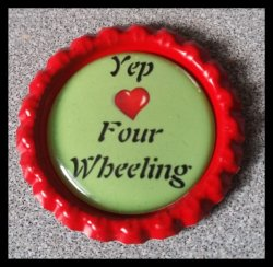 4 Wheeler Quad Bottle Cap Magnet #A4 (choose image and bottle cap color)