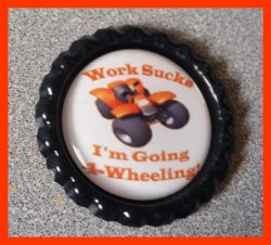 4 Wheeler Quad Bottle Cap Magnet #A13 (choose image and bottle cap color)