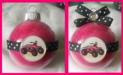 4 Wheeler Quad Round Glass Ornament #A12 (choose image and colors)