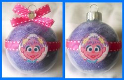 Abby Cadabby Round Glass Ornament #B7 (choose image and colors)