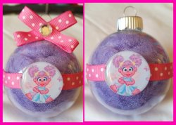 Abby Cadabby Round Glass Ornament #B8 (choose image and colors)