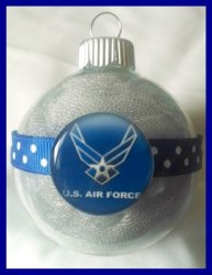 Air Force Round Ornament #A2 Glass or Plastic (choose image and colors)