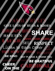 Arizona Cardinals Family Rules Wall Decor Sign (digital or shipped)
