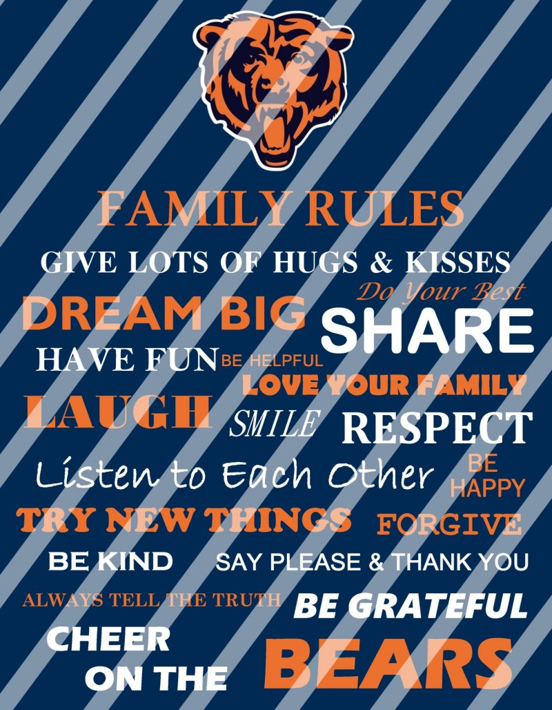 Chicago Bears Family Rules Wall Decor Sign Digital Or