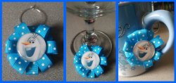 Disney Frozen Ribbon Wine Glass Charm #D11 (choose image and ribbon color)