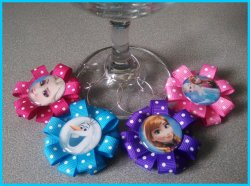 Set of 4 Disney Frozen Ribbon Wine Glass Charms #D11E6F6H8 (choose images)