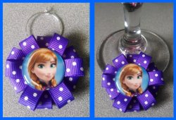 Disney Frozen Ribbon Wine Glass Charm #E6 (choose image and ribbon color)