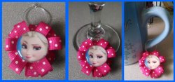 Disney Frozen Ribbon Wine Glass Charm #F6 (choose image and ribbon color)