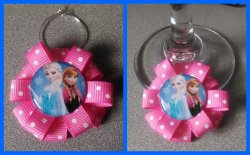 Disney Frozen Ribbon Wine Glass Charm #H8 (choose image and ribbon color)