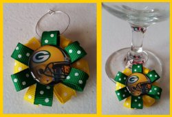Green Bay Packers Ribbon Wine Glass Charm #A5 (choose image and ribbon color)