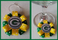 Green Bay Packers Ribbon Wine Glass Charm #B5 (choose image and ribbon color)