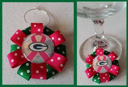 Green Bay Packers Ribbon Wine Glass Charm #E2 (choose image and ribbon color)
