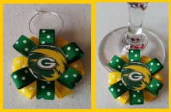 Green Bay Packers Ribbon Wine Glass Charm #E5 (choose image and ribbon color)