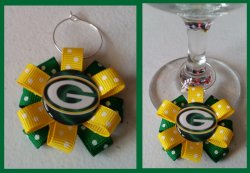 Green Bay Packers Ribbon Wine Glass Charm #E7 (choose image and ribbon color)