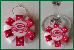 Green Bay Packers Ribbon Wine Glass Charm #E10 (choose image and ribbon color)