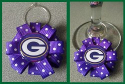 Green Bay Packers Ribbon Wine Glass Charm #E11 (choose image and ribbon color)
