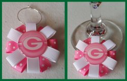 Green Bay Packers Ribbon Wine Glass Charm #E14 (choose image and ribbon color)