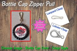 4 Wheeler Bottle Cap Zipper Pull #A1 (choose image and color)