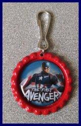 Avengers Bottle Cap Zipper Pull #A1 (choose image and bottle cap color)