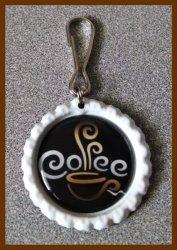 Coffee Bottle Cap Zipper Pull #A4 (choose image and bottle cap color)