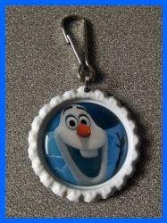 Disney Frozen Bottle Cap Zipper Pull #A5 (choose image and bottle cap color)