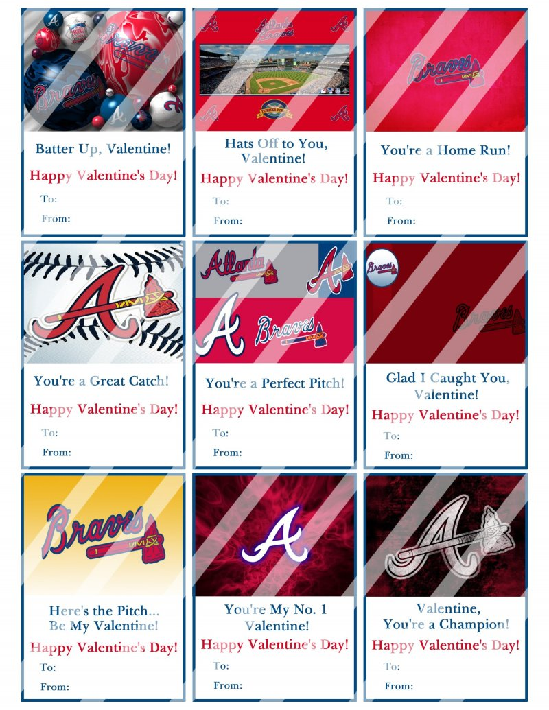 Atlanta Braves Valentines Day Cards Sheet #2 (instant Download Or Printed)