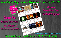 Star Wars Digital or Printed Valentines Day Cards 2.5x3.5 Sheet #1