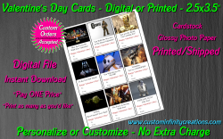 Star Wars Digital or Printed Valentines Day Cards 2.5x3.5 Sheet #3
