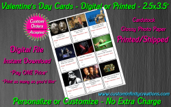 Star Wars Digital or Printed Valentines Day Cards 2.5x3.5 Sheet #5