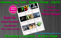 Star Wars Digital or Printed Valentines Day Cards 2.5x3.5 Sheet #11