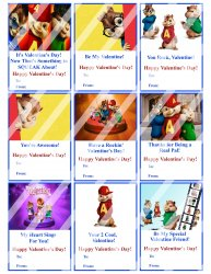 Alvin and the Chipmunks Valentines Day Cards #1 (instant download or printed)