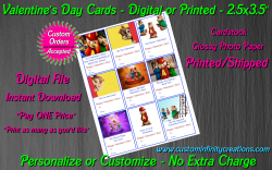 Alvin and the Chipmunks Digital or Printed Valentines Day Cards 2.5x3.5 Sheet 1