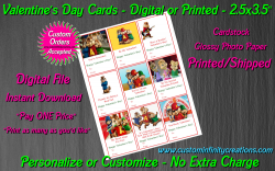Alvin and the Chipmunks Digital or Printed Valentines Day Cards 2.5x3.5 Sheet 3