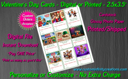 Alvin and the Chipmunks Digital or Printed Valentines Day Cards 2.5x3.5 Sheet 5