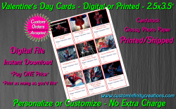 Spiderman Digital or Printed Valentines Day Cards 2.5x3.5 Sheet #1
