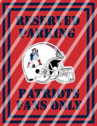 New England Patriots Parking Wall Decor Sign #3 (digital or shipped)