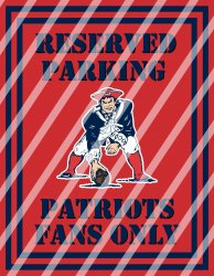 New England Patriots Parking Wall Decor Sign #4 (digital or shipped)