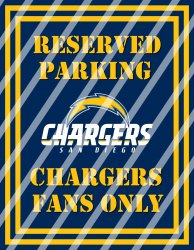 San Diego Chargers Parking Wall Decor Sign #1 (digital or shipped)