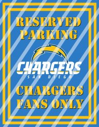San Diego Chargers Parking Wall Decor Sign #2 (digital or shipped)