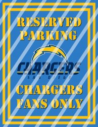 San Diego Chargers Parking Wall Decor Sign #3 (digital or shipped)