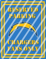 San Diego Chargers Parking Wall Decor Sign #4 (digital or shipped)