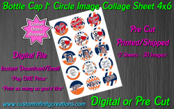 Detroit Tigers Bottle Cap 1 Circle Images Sheet #1x (digital or pre cut)