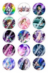 Fairy Bottle Cap 1 Circle Images Sheet #1 (instant download or pre cut)
