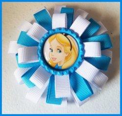 Alice in Wonderland 3 Layer Bottle Cap Hair Bow #C11 choose image ribbon colors