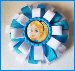 Alice in Wonderland 3 Layer Bottle Cap Hair Bow #C11 (choose image and colors)